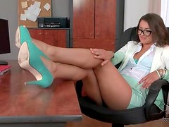 Office girl in nerdy glasses masturbates her pussy