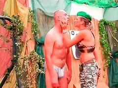 Drill sergeant girl abuses two naked guys