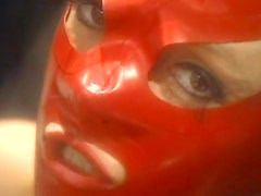 Lesbians in latex lingerie play with anal toys