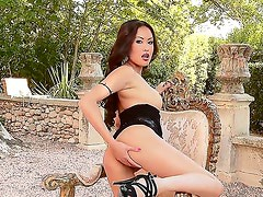 Danika is one hot Asian babe who loves to masturbate on camera, but before playing with her