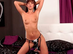 Shapely brunette beauty gets naked and gives masturbation solo