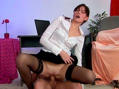 Office assistant Elvira fucks her boss right in the office