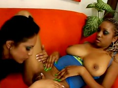 Ebony hotties Ice La Fox and Tierra Quinn eat each other's wet quims