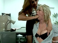 Naughty Simone Sonay gets ass fucked with strap on