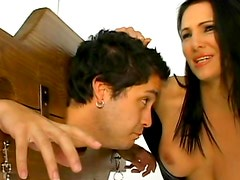 Spicy brunette is humiliating her hot slave