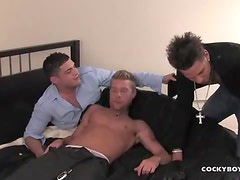 Cock deep in ass and mouth in a threesome
