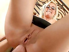 Nerdy blonde bitch Brandi Edwards slams her meaty ass on a rock hard cock