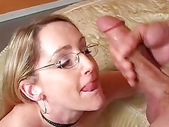 Nerdy looking Lori Lust gets her mouth cummed the way she always liked it