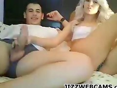 Blonde Girl Gets her BF Off With Her Feet