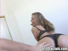 Sexy Misty May shows her blowjob skills and gets facialed