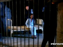 Sexy brunette Cindy Lords gets double penetrated in a jail