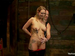 Tattooed Rain DeGrey gets her pussy clothespinned and toyed