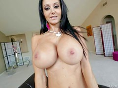 Topless milfyf brunette Ava Addams in panties and shoes is