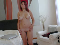 Attractive pale redhead babe Nanny with curvy hips and big