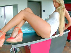 Young tempting blonde Ivana Sugar with long legs and natural