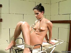 Brunette Bettina Dicapri with juicy boobs gets