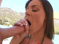 Big ass black haired Kendra Lust with sexy french manicure and jaw dropping juicy hooters
