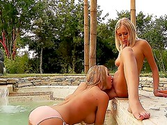 Smoking hot blonde cutties Danielle Maye and Teena Lipoldino with long legs and tight firm