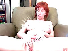 Young naked redhead Zoey Nixon with big natural knockers and delicious firm ass teases and