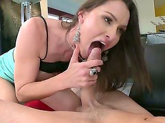 Cheating cock addicted brunette Nora Noir with big firm gazongas and long legs gives head to