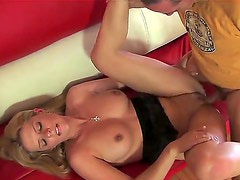 Young looking slender blonde Cody with nice boobs and long legs in high hells rides