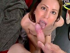 Young pretty brunette babe Lola Milano with natural perky boobies and slim body gives nice blowjob