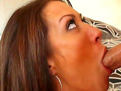 Attractive brunette Capri Cavanni with round firm hooters and long legs gives head to tall