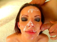 Alexandra blows his cock like a real pro and