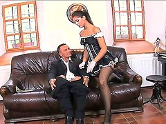 Naughty spanish maid gives a horney sexy blonde a