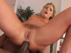 Filthy blond hussy Flower Tucci rides horny black dick with gaped asshole