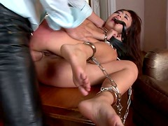 Filthy Japanese hussy gets anal fucked standing on table in doggy
