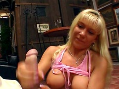 Busty mom Nancy is sucking cock in POV