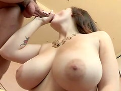 Busty brunette slut gives a great blowjob and titjob combo