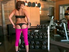 Sporty girls show their private parts to their horny fitness instructor