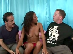 Two studs polish the wet Latina cunt of horny curvy brunette Carmella Santiago
