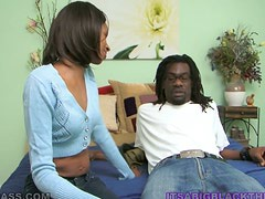 Black dude has a lot of cum enough for her mouth and pussy