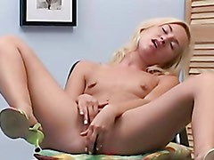Horny Blonde Teen Spreads Her Legs And Masturbates With A Dildo