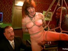 Two skinny chicks get humiliated in a group BDSM scene