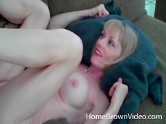 Mature blonde takes his cock and load