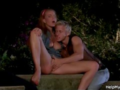 Young man licks married pussy outdoors