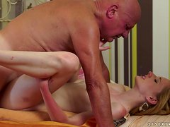 Blonde tootsie gets her vag fucked and creampied by an old man