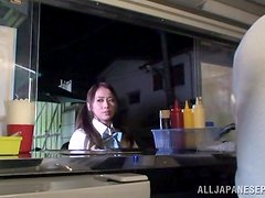 Japanese babe in school uniform toys herself and sucks a dick