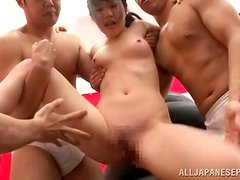Japanese sweetie gets her snatch toyed and pounded in a gangbang scene
