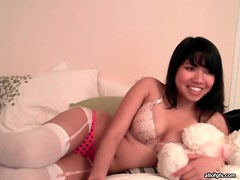 Big dildo fucks pussy of Asian webcam girl