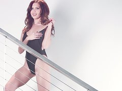 Sexy beauty Chrissy Marie poses nude on the stairs