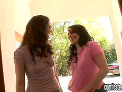 Two sexy brunette babes suck big dick and get pounded
