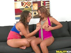 Two nice girls with big tits get fucked and facialed in a threesome