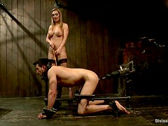 Bondage and Femdom Video with Tanya Tate Getting a Guy Fucked by Machine