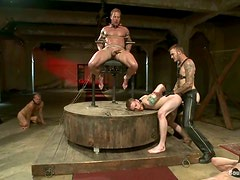 A few horny gays get tormented and fucked in a group BDSM scene