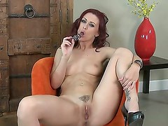 Cool solo masturbation from adorable chick Karlie Montana would make you aroused. The redhead